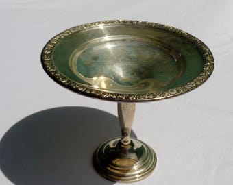 vintage silver hollow ware compote with rose design
