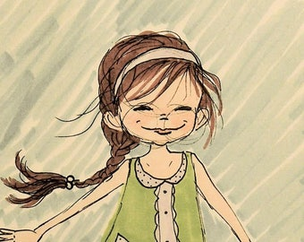"Wall Art decor Children's Illustration ""Barefoot"" print Nursery"