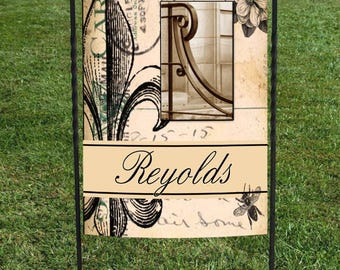 "Personalized Garden Flag, Fleur de lis, Magnolia, Beige & Black, Acrhitectural letter center, great for housewarming or wedding day, 12""x18"""