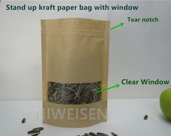 100pcs Brown stand up Kraft paper Zip Lock bag 9x13+3CM