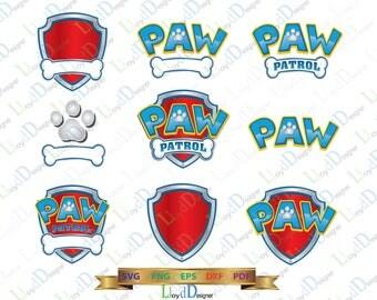 Paw Patrol SVG Paw Patrol logo Paw patrol clip art Paw patrol digital Paw Patrol Birthday party svg eps png cut file silhouette cameo cricut