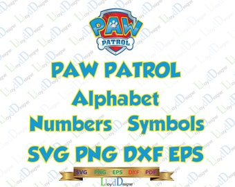 Paw Patrol Alphabet SVG Font Paw Patrol logo Paw patrol Letter clipart Paw Patrol Birthday party svg eps png dxf cut files for cameo cricut