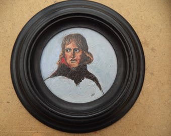 Miniature painting in oil/portrait Napoleon/round frame wood blackened/collection/decoration