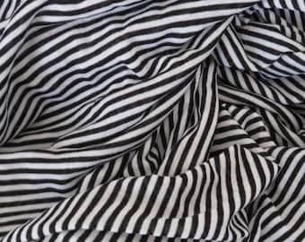 Black & White Stretch Interlock Knit Tiny Pinstripe Fabric By the Yard DIY Punk Goth Unique <3