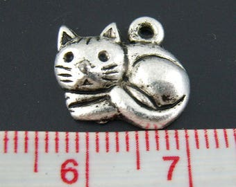 Set of 10 small charms kitten snuggled