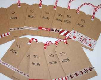 Christmas Gift Tags, Holiday Gift Tags, Red & White Accented Kraft Gift Tags, Set of 12 Gift Tags, Christmas Tags