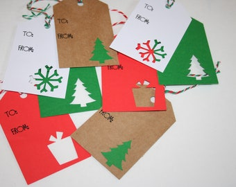 Christmas Gift Tags, Holiday Gift Tags, Red, White, and Green Gift Tags, Set of 8 Gift Tags, Christmas Tags