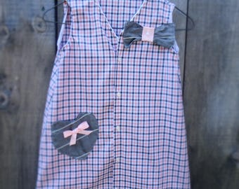 Upcycled Girl's dress from am men's shirt.  Pink and Grey Dress, Age 7