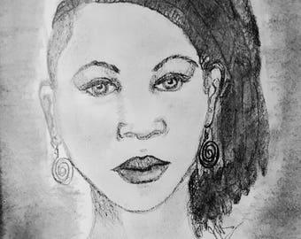 Art print, charcoal sketch, woman, locs