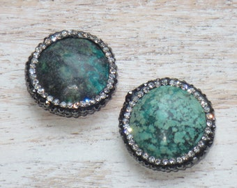 African Turquoise Pave Cz Bead, Pave Pearl Bead, African Turquoise Bead