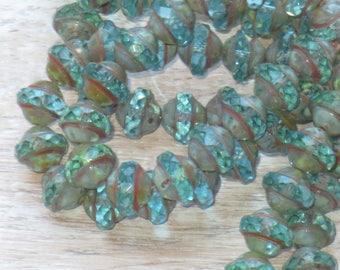 8x10mm Czech Glass Saturn Beads Aqua Picasso (10pcs) - Czech Glass Beads