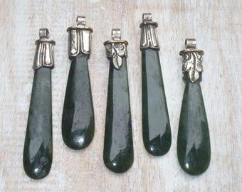 Tibetal Genuin Green Jade Repousse Pendants