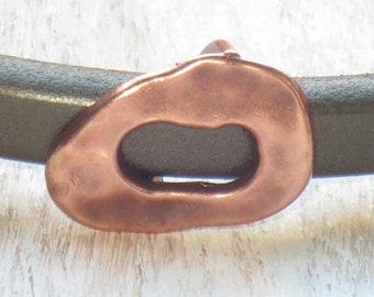Regaliz Antique Copper Oval Buckle Spacer Bead, Spacer Bead, Slider Bead, Regaliz Bead