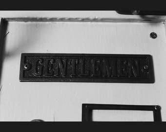 Cast Iron 'Gentleman' Bathroom or Toilet Plaque Great Rustic Sign 177mm x 40mm