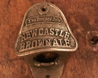 Vintage Style Wall Mounted Bottle Opener in an Antique Iron Finish (Newcastle Brown Ale)