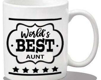 Ceramic aunt mug, ceramic coffee mug, best aunt gift items, printed coffee mug, best aunt gifts, best aunt mug, world's best aunt, best aunt