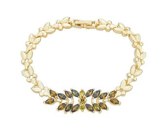 14K Gold Filled Flower-Chain Bracelet with Dark Yellow Green Leaf Stone Design
