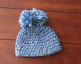 Chunky Pom Hat - Blue