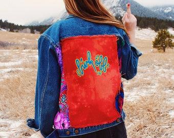 Funk Off Hand Painted Denim Jacket - Refurbished - Medium