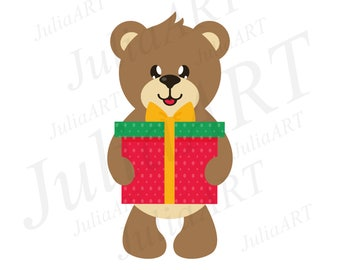 cartoon cute bear with gift vector image
