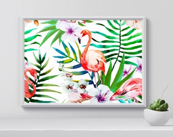Flamingo Poster, Flamingo Print, Tropical Print, Watercolor, Wall Art, Home Decor, Birthday gift, gift for her, gift idea, printable