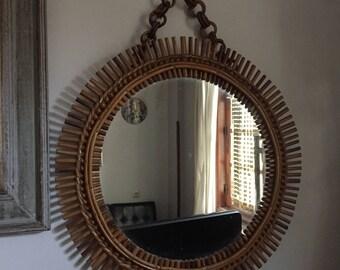 ancien miroir soleil des années 60 en rotin, old rattan 60s sun mirror_espejo de sol viejo ratán 60s-vell rattan 60s sol mirall