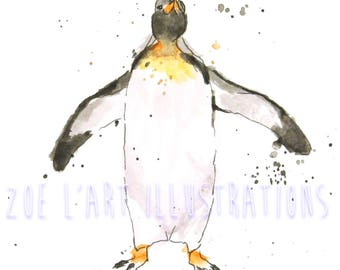 Watercolour Penguin Illustrations, Set of 5, size A6