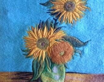 Famous Van Gogh sunflowers wool felt painting art.