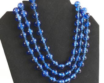 Antique Peking Glass Bead Necklace, Cobalt Blue, Hand Knotted on Silk, 90 Beads, 58 Inches, 1890-1915