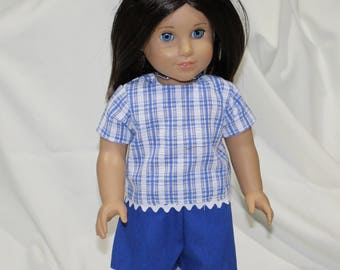"""18"""" American Made Girl Doll Clothes, Modeled on Christie American Girl Doll, Blue & White Checkered Shirt with Blue Shorts"""