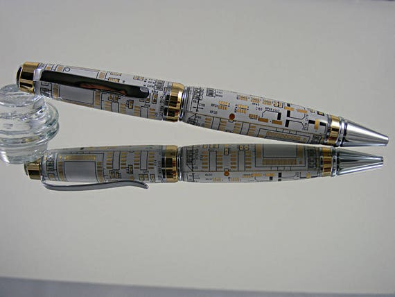 Handcrafted Cigar Pen in 24K Gold and Chrome with White Circuit Board