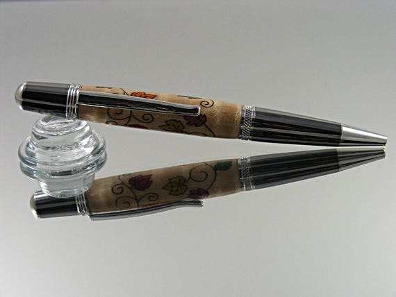 Inlayed Ink Pen in Black TI and Platinum with Fall Leaves Inlay