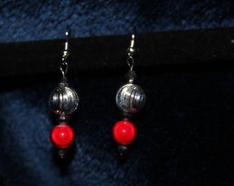 Silver Twirl Red Ball Drop Earrings