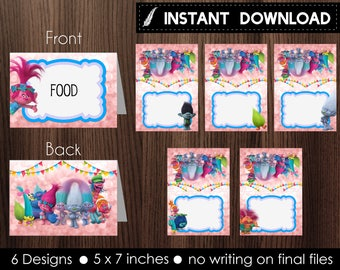 Instant Download - 6 Trolls Food Tent Label Printable Birthday Party Poppy Branch Guy Diamond Pink Bokeh - Digital File