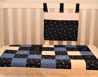 Rabbits quilt and cot pocket set