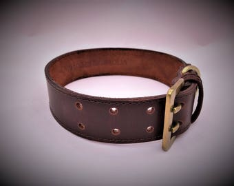 Large - Leather Dog Collar - Handmade - Mongolian Leather - Premium Dog Collar