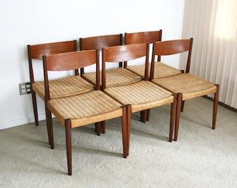 vintage (6) Danish modern Poul Volther Frem Rojle teak dining chairs