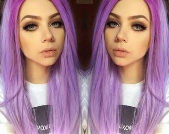 20 inch multi tonal purple 100% human hair wig
