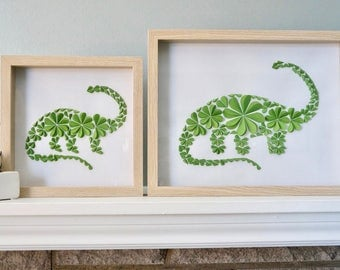 Long Neck - Unique Framed Dinosaur Paper Art for Home Decor! Perfect for a Baby Shower, Children's Bedroom, or Anywhere! By DinoCat Studio