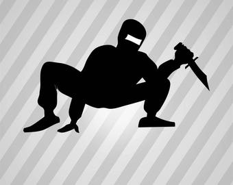 Ninja Silhouette - Svg Dxf Eps Silhouette Rld Rdworks Pdf Png Ai Files Digital Cut Vector File Svg File Cricut Laser Cut