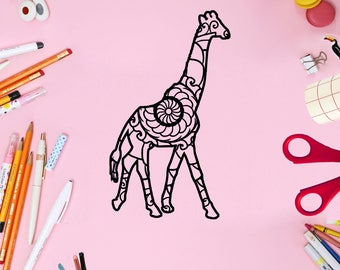 Mandala, Svg Files For Cricut, Mandala Monogram, Giraffe Mandala Svg, Mandala Svg, Mandala, Animal Mandala Svg, Mandala Giraffe Svg
