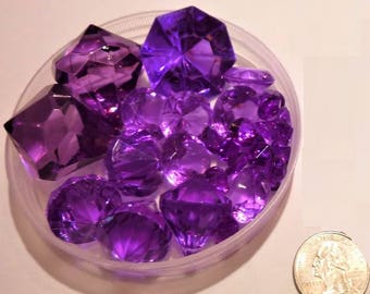 80 Purple/Orchid Jumbo and Assorted Sizes Sparkling Gems for Event Centerpieces