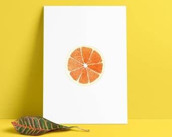 Orange Watercolor Print, Wall Art Poster, kitchen, livingroom, Fruit Watercolour, Aquarell, Aguarela
