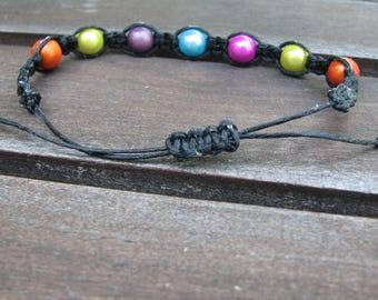 Neon Macrame Bracelet-Multicolored Bead Bracelet-Adujstable Beaded Bracelet- Wax Cord Bracelet