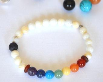 Chakra Lava Stone Stretch Bracelet