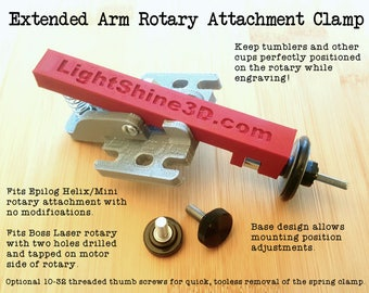 Extended Arm Rotary Attachment Clamp - Fits certain Epilog and Boss rotary attachments (read full details)