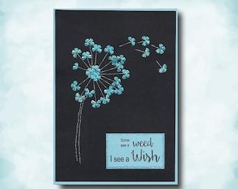 Dandelion Card | Dandelion Wishes String Art Handmade Card | Wishes Not Weeds Silver String Art Blue Sequins Dandelion Puff Card |