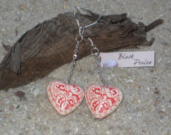 Earrings red acrylic heart and cream