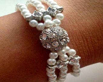 Sparkling Disco Ball Pearl 3 Layer Bracelet