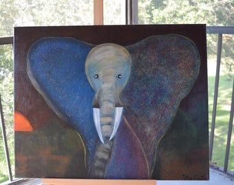 Original Acrylic Painting one of a kind Elephant.